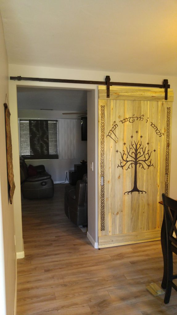"Tolkien's ""Speak Friend and Enter"" in Elvish & White Tree of Gondor & Celtic Knotwork Barn Door Far View"